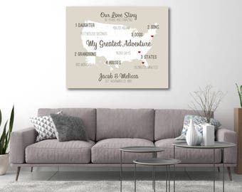10th Anniversary Gift for Him Custom Anniversary Decor Canvas Artwork Map Art Gifts for Anniversary Meaningful Gift