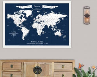 Personalized gifts travels maps and unique home by solestudio 10th anniversary gift for husband push pin travel map our adventures world map for wall travel gumiabroncs Gallery