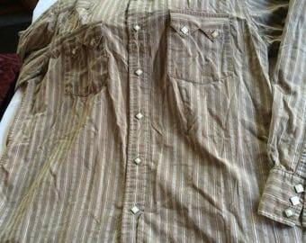 Cowboy Shirt,Lucky Brand Shirt,Brown Cowboy Shirt,Cowgirl Shirt,Large Cowgirl Top,Stripe Cowboy Top,Brown Western Shirt,Large Country Shirt,