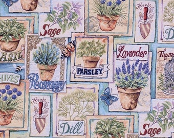 botanical fabric - parsley fabric - lavender fabric - jacquard woven fabric - quilting fabric - upholstery fabric - sage fabric - TF-9002