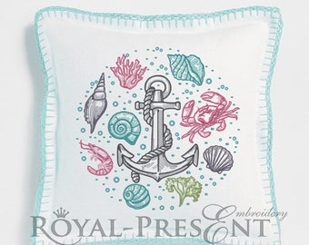 Machine Embroidery Designs Shrimp, Seashell, Coral, Crab, Anchor