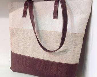 Tote bag / beach bag in 3 different cork colours - FREE SHIPPING - Vegan - Eco Friendly