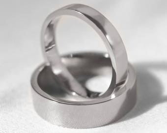His and Hers Flat Profile Platinum 'Brora' Wedding Bands