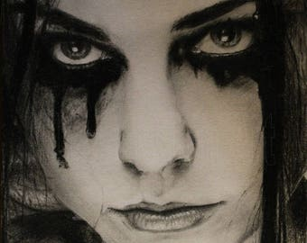 """Portrait of """"Amy Lee"""" Evanescence on postcard"""