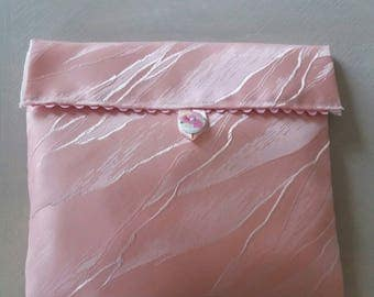 pink satin pouch with flap