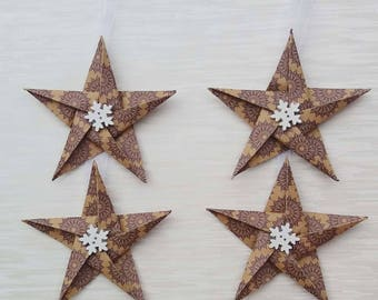 Brown Star Christmas decorations, Paper Stars, Paper tree decorations, winter