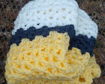 Lemon, Soft White and Gray Soft Crochet Knit Baby Blanket Throw Blanket Chunky Blanket Baby Nursery Baby Shower Gift Handmade Ready to Ship