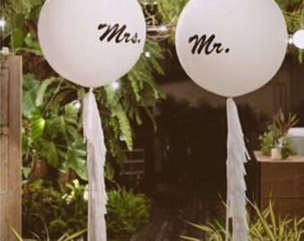 Mr ans Mrs giant balloons, wedding balloons, 36 inch balloons