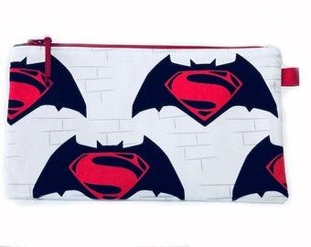 Batman Superman Multi Purpose Pouch, Makeup Bag, Gadget Bag, Pencil Case, Small Craft Project Bag, Handmade in the UK