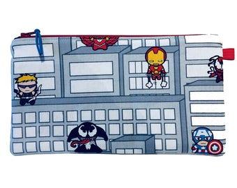 Kawaii Avengers Superheroes Multi Purpose Zip Pouch, Makeup Bag, Small Craft Project Bag, Gadget Bag, Pencil Case, Handmade in the UK