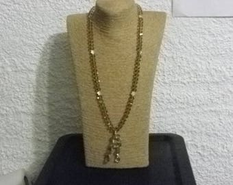 Necklace glass crystal 10 mm champagne beige 85 cm