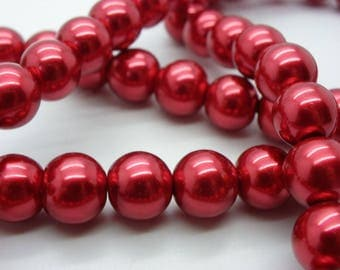 a beautiful 25 12 mm mother of Pearl red Pearl glass beads dyed Pearl