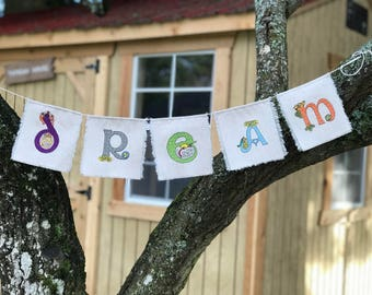 """Handmade One-of-a-Kind Celtic type Creatures Embroidered Fabric """"DREAM"""" bunting/garland/banner Convertible to """"READ"""" bunting"""