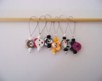Fun beaded Stitch Markers - set of 6 - knit knitting charms,  stitch markers polymer clay