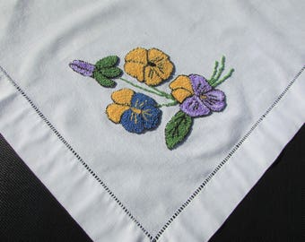 """1960's Punch Needle Pansies Tablecloth, Hemstitched/ Square, Handmade needlework pansy floral table cloth, table topper/ 31"""" x 33 1/4"""""""