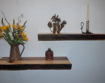 Hickory Floating Shelves, Floating Shelves, Rustic Shelves, Hickory Shelves, Live Edge Shelves