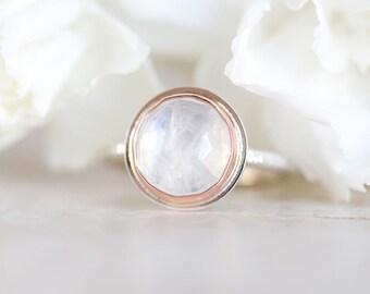 Moonstone Ring, Rainbow Moonstone Ring, Rose Cut Moonstone Silver, 14K Rose Gold Ring, Rose Gold Moonstone Ring Size 6, 6.25, 6.5, Size 7