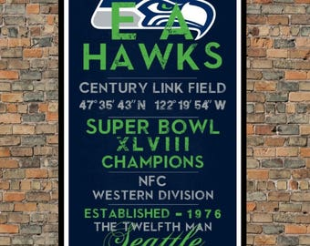Seattle Seahawks - Eye Chart chalkboard print - sports, football, gift for fathers day, subway sign - Eyechart wall art