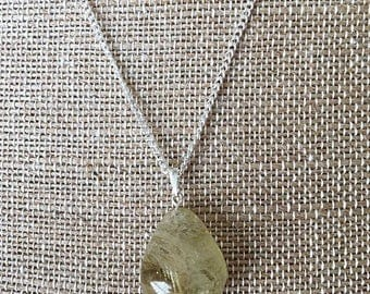 Large Chunky Citrine Pendant Sterling Silver Necklace, Ladies Necklace
