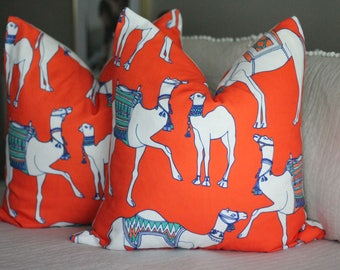 cotton & quill camel print pillow cover // asian inspired // chinoiserie fabric // camel pillow covers // orange pillow covers // coral