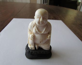 Vintage Carved Bone Buddha Small Figure on Attached Pedestal