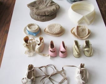 Vintage Lot Doll Hats Collars Shoes Cloth Hat Plastic Collar