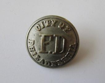 Vintage Philadelphia Fire Department Button Snellenburg & Co. Metal F.D.