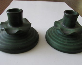 Vintage Pair Weller Candlesticks Candleholders Candle Holder Green Pottery