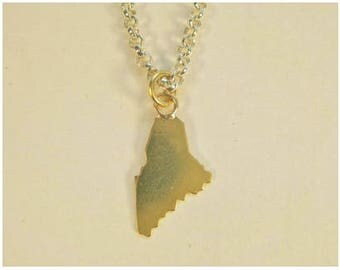 18K Gold State of Maine Pendant
