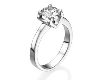 1 Ct Round Cut Engagement ring H Vs2 14k white gold 4.20 Gr Clarity enhanced Sizeable Love Gift