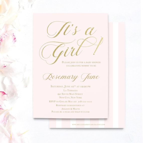 Pink And Gold Baby Shower Invitations Princess Baby Shower Girl