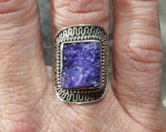 Purple Druzy Quartz Statement Ring - Size 5.75