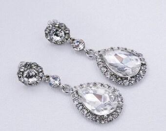 Sale Crystal Earrings Wedding Earrings Bridesmaids Earrings  Wedding gift Bridal Earrings Crystal Wedding Earrings Cubic Zirconia Earrings