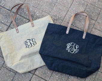Monogrammed Burlap Tote Bag, Shopping Bag, Go-To Beach Bag, Tote Bag, Large Jute Bag