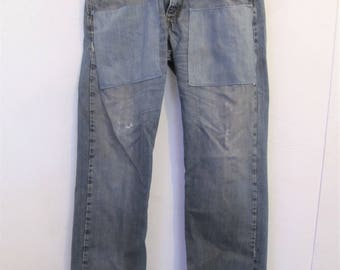 Men's,RECYCLED,Trashy Blue Vintage LEVI'S 569 LOOSE Straight Jeans.32x34