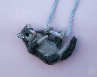 Needle felted possum necklace, australian possum toy, wool pendant, possum charm, animal jewelry, possum gift, austalian animals