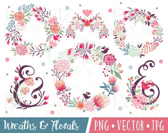 Painted Florals Clipart, Folk Flowers, Cute Flowers Clipart Images, Wedding Florals, Wedding Graphics, Ampersand PNG, Spring Wreath Hearts