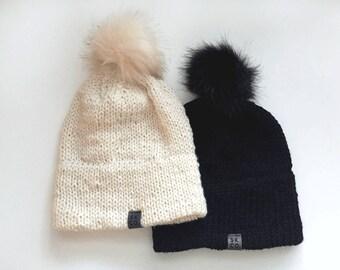 Faux Fur Pompom Brim Knit Beanie Hat