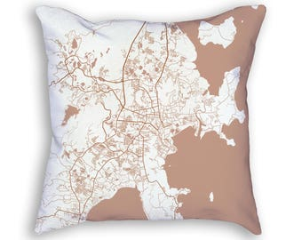 Phuket Thailand City Street Map Throw Pillow