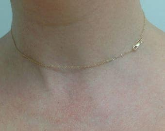 Gold necklace, 14k, dainty necklace, 14k gold, simple necklace, choker, delicate gold, tiny gold necklace, gold chain, gold, minimalist