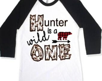 Wild one, buffalo plaid, lumberjack birthday, bear, deer, boys birthday shirt, first birthday
