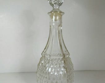Antique Clear Diamond Cut Glass Decanter
