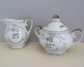 Lefton China, 25th Anniversary, Circa 1984, #05059, Sugar & Creamer Set