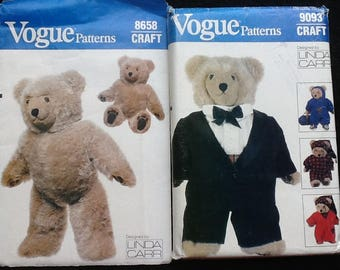 "Vogue patterns 8658 & 9093. Uncut patterns for 23"" stuffed bear and clothing. Tuxedo, nightshirt, night cap and sweatsuit."
