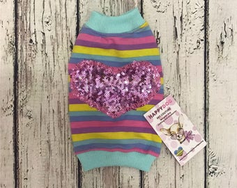 Rainbow and sparkling  heart pattern Designer dog tank top Custom made dog shirt