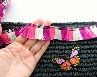 Multicolored fringe trim - Boho tassel fringe trim - Pink beige fringe trim - Cotton edge trim - Gipsy tassel trim - Pink fringe trim