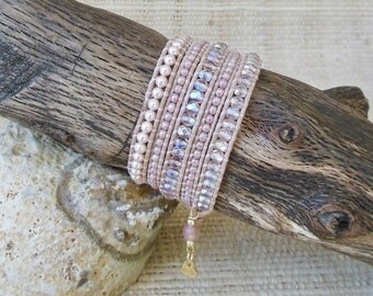 Beaded Leather Wrap Bracelet:Pink Pearl & Crystal Mix/5 Wrap Bracelet/June Birthstone/Gift for Her/Gemini Woman/Cancer Woman/3rd Anniversary