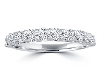 1.00ct Round Diamond 14k White Gold Half Eternity Prong Wedding Band Ring
