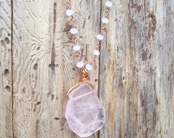Handcrafted Rose Quartz Necklace with Beaded Chain 18""