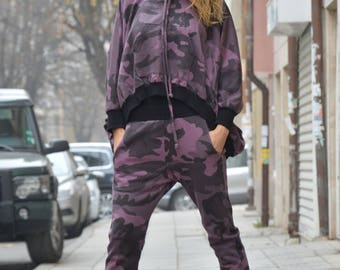Loose Military Casual Hooded Set, Extravagant Maxi Sweater, Drop Crotch Harem Pants, Womens Set by SSDfashion